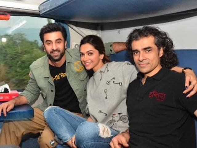 Ranbir Kapoor, Deepika Padukone and Imtiaz Ali take a train from Mumbai to Delhi during the promotions for Tamasha.