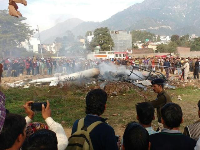 According to unconfirmed reports, the chopper caught fire mid-air and the woman pilot averted the crash in a populated area in Katra.