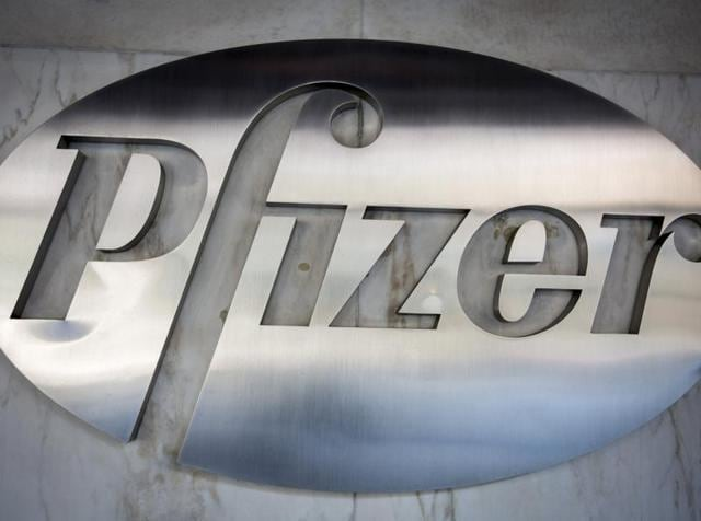 The Pfizer logo is pictured at their building in the Manhattan borough of New York.