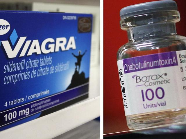 A box of Pfizer drug Viagra and a bottle of Allergan product Botox . Pfizer Inc's and Allergan Plc's's merger will be the second-largest ever deal.