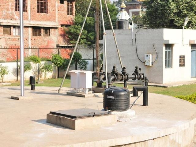 Tube well at Sector 31 in Chandigarh on Sunday.