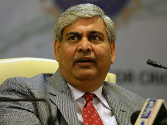 Board of Control for Cricket in India (BCCI) President Shashank Manohar speaks during a news conference at the board's headquarters in Mumbai.