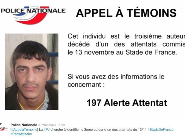 This notice released Sunday, Nov. 22, 2015, by the French Police shows a call for witnesses and an undated portrait of the 3rd suicide bomber at the Stade de France.