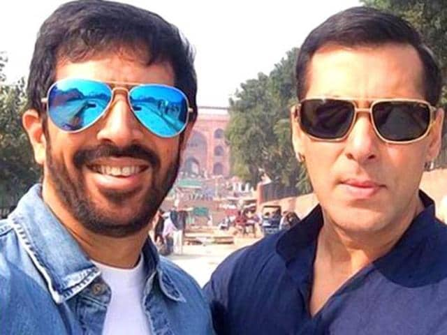 Kabir Khan and Salman Khan on the sets of Bajrangi Bhaijaan in Delhi.