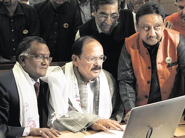 "Urban development minister M Venkiah Naidu during the launch of ""e-Lala"" portal, in New Delhi."