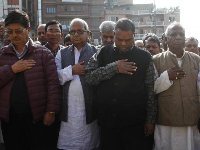 Nepalese Madhesi leaders and supporters observe a minute of silence in the memory of people killed in south Nepal protest in Kathmandu, Nepal. Dozens of people have been killed in the weeks of violent protests against the new Constitution in south Nepal.