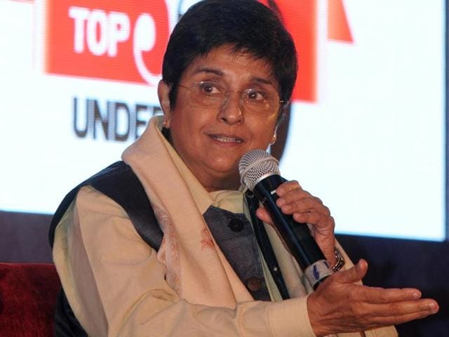 Social activist and BJP's Delhi chief ministerial candidate Kiran Bedi during HT Youth Forum in Chandigarh on Monday.