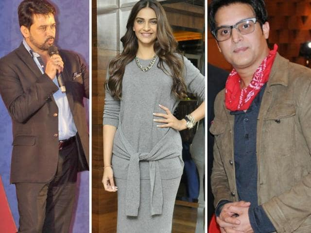 (From L-R): Hamirpur MPAnurag Kashyap; Actors Sonam Kapoor and Jimmy Shergill.