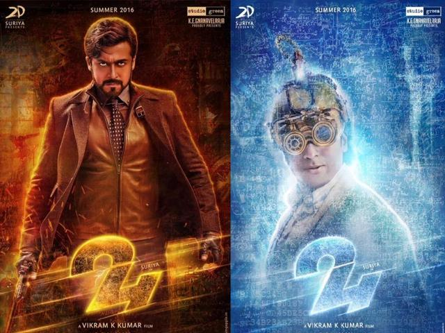 First look posters of suriyas 24 out regional movies hindustan two posters of tamil star suriyas new film 24 was released on tuesday altavistaventures Images