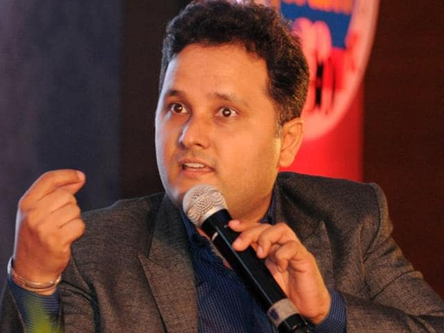 Author of Shiva trilogy Amish Tripathi during the panel discussion of HT Youth Forum in Chandigarh on Monday.