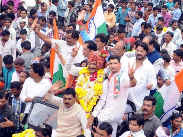 Congress activists take out a victory procession of Kantilal Bhuria in Jhabua on Tuesday.
