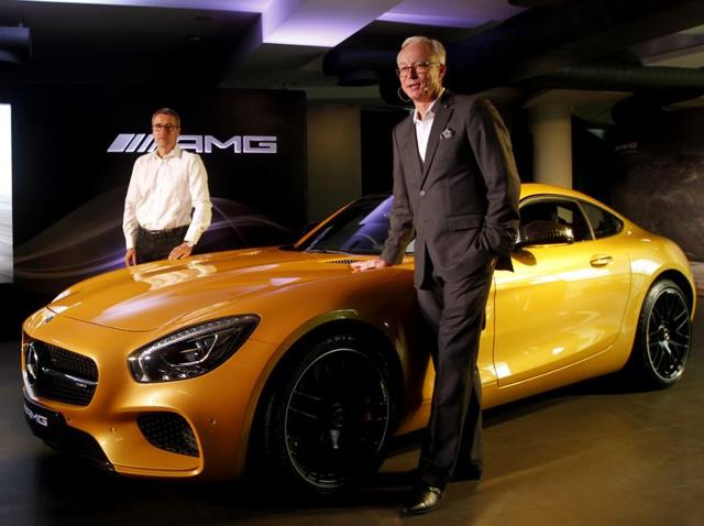 Bernd Schneider and Roland S Folger (MD & CEO Mercedes-Benz India) launch the new Mercedes-AMG GT S in New Delhi on Tuesday.