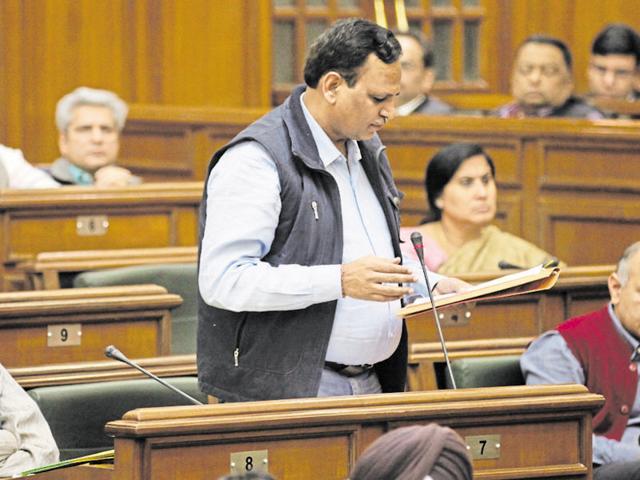 Delhi health minister Satyendar Kumar Jain at Vidhan Sabha.