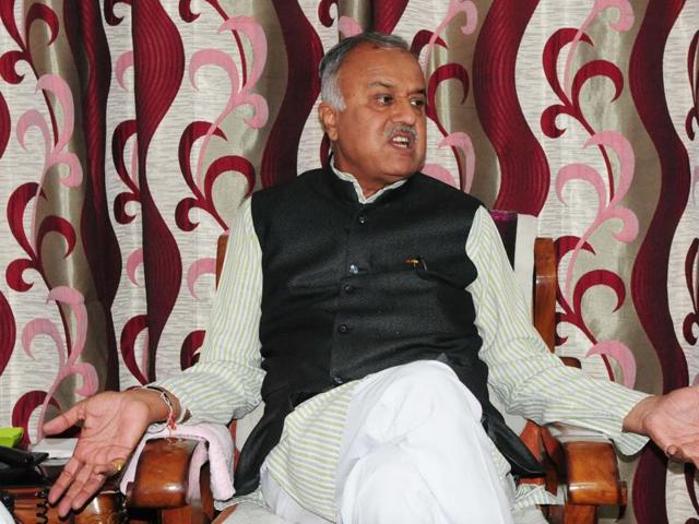 BJP state president Nand Kumar Singh Chauhan talking to media after by-poll results, in Bhopal on Tuesday.
