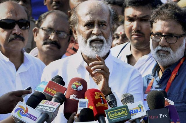Superstar Rajinikanth, who is currently shooting for the gangster flick Kabali in Bangkok, will soon take a make-up test for his next film, Enthiran 2. Seen here, the actor  addresses the media after casting his vote during the South Indian Artists Association's Election in Chennai on Oct 18, 2015.