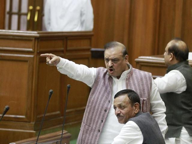 BJP MLA Om Prakash Sharma during the winter session of Delhi Vidhan Sabha. Sharma was suspended for making sexist remarks about AAP legislator Alka Lamba.