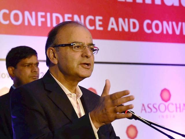 Union finance minister Arun Jaitley address at ASSOCHAM 95th Annual Session held in New Delhi.
