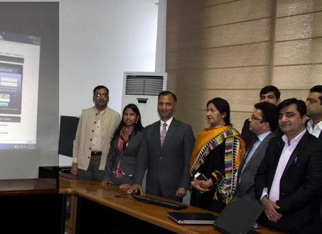 UT adviser Vijay Dev, mayor Poonam Sharma and other officials during the launch of the facility in Chandigarh on Tuesday.
