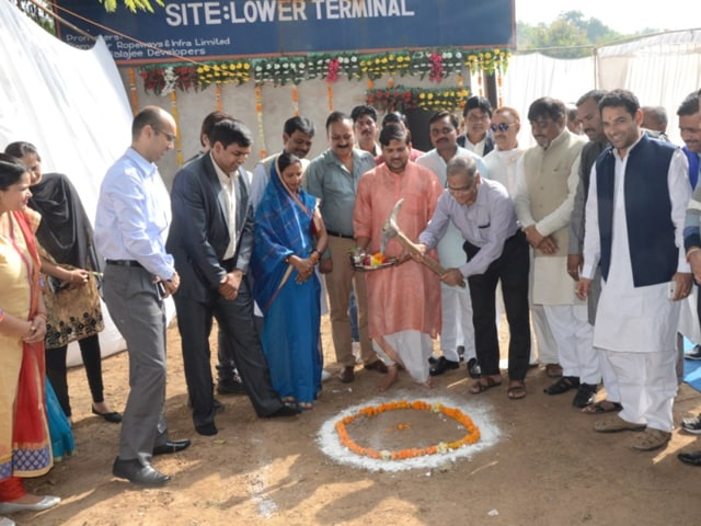 Mayor Vivek Narayan Shejwalkar  performs Bhoomi Pujan ceremony for the ropeway project, in Gwalior on Wednesday.