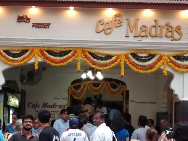 Customers throng Cafe Madras on Tuesday. The restaurant charged its customers inflation-free prices of 1940.