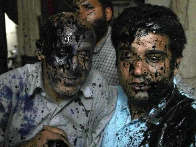 File photo of Jammu and Kashmir MLA Engineer Rashid (left) after an ink attack in New Delhi earlier in October.