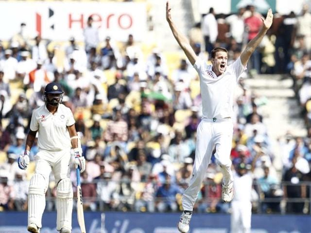 South Africa bowler Morne Morkel celebrates the wicket of Murali Vijay.