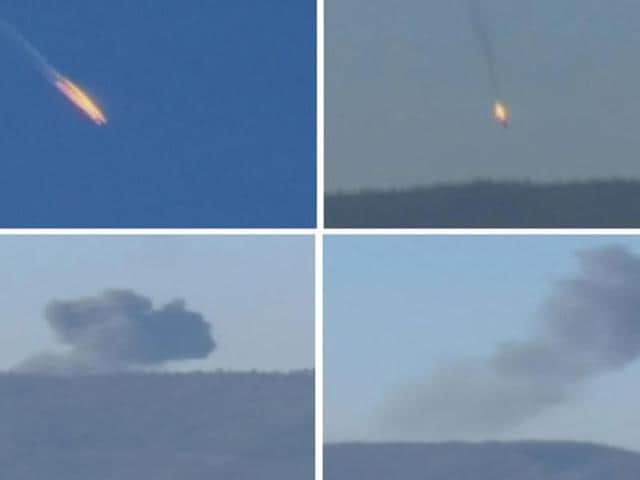 A combination picture taken from video shows a war plane crashing in flames in a mountainous area in northern Syria after it was shot down by Turkish fighter jets near the Turkish-Syrian border.