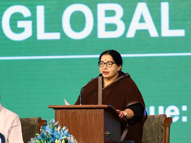 Tamil Nadu Chief Minister Jayalalithaa  addresses the Global Investors Meet 2015 in the southern Indian city of Chennai.