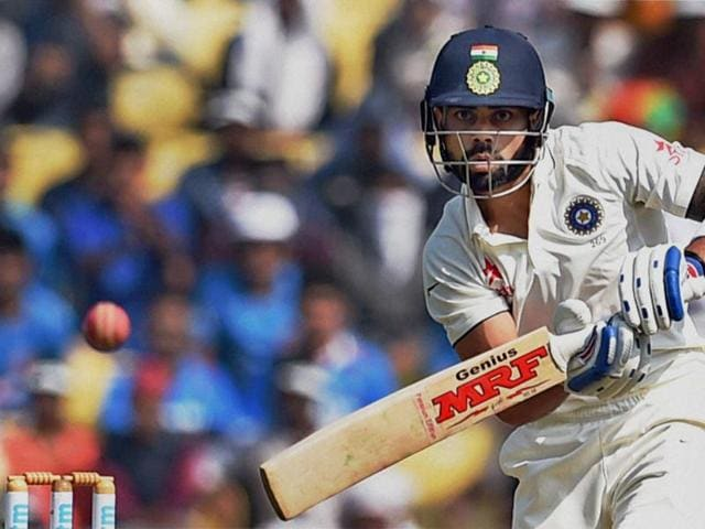 Indian skipper Virat Kohli plays a shot during his short stay of 22.