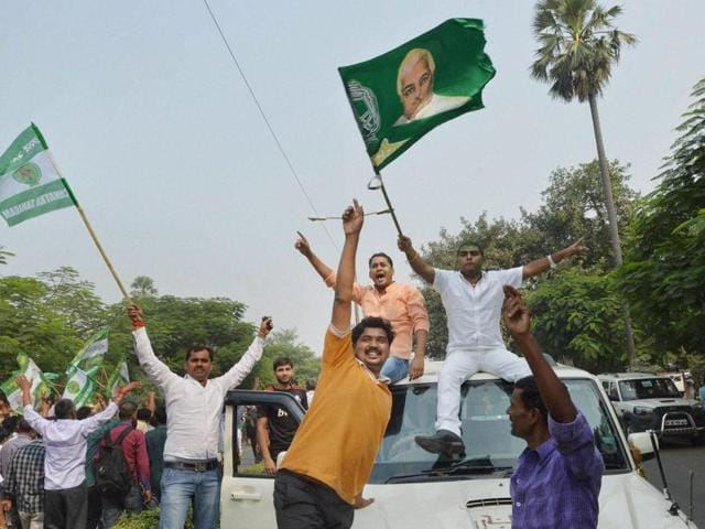 JD(U) supporters dance as they celebrate the Grand Alliance's victory in Bihar assembly elections at the party office in Patna. A representative photo.