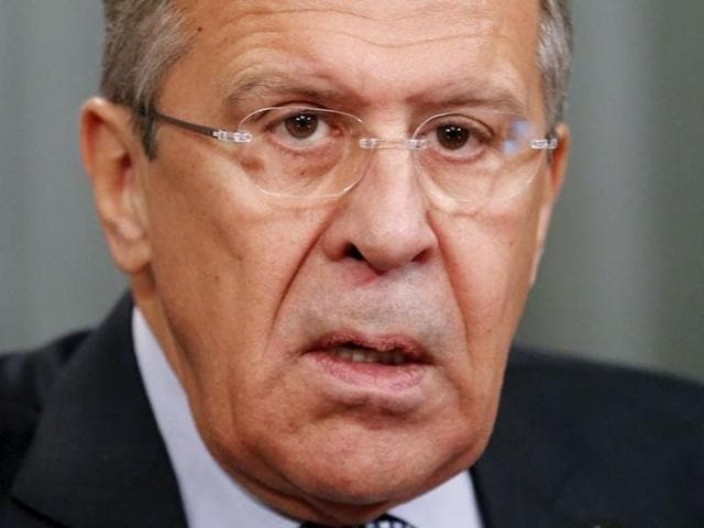 Russia's Foreign Minister Sergei Lavrov attends a news conference after a meeting with his counterpart from Lebanon Gebran Bassil in Moscow.