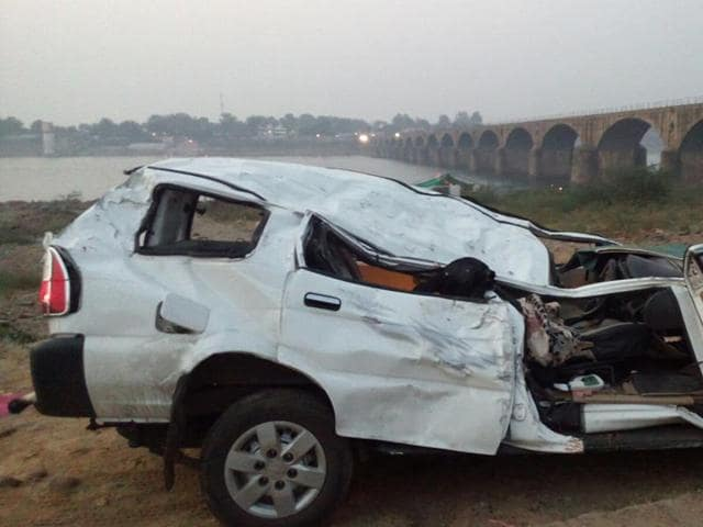 The SUV was taken out from river Narmada on Wednesday morning.