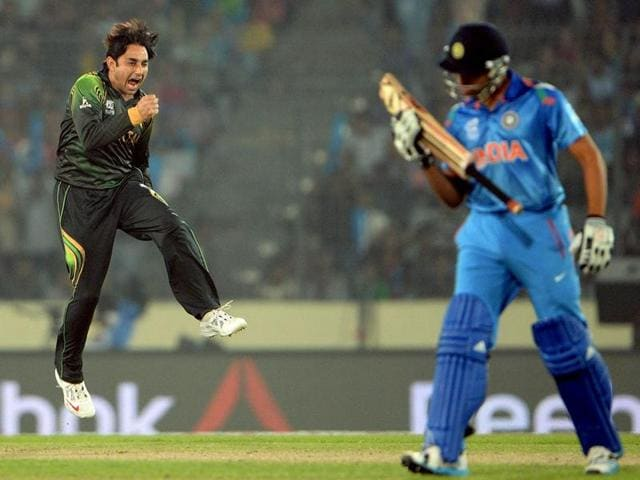 File  photo of a cricket match between India and Pakistan.