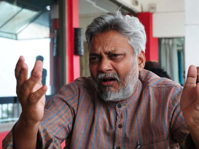 Water conservationist Rajendra Singh (third from left) addressing a workshop in Bhopal on Tuesday.