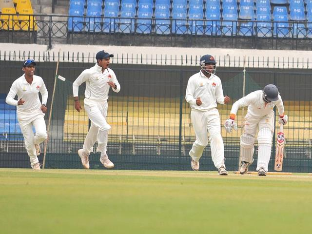 Jalaj Saxena plays a sweep shot during his 79-run knock in the second innings against Mumbai, in Indore on Tuesday.