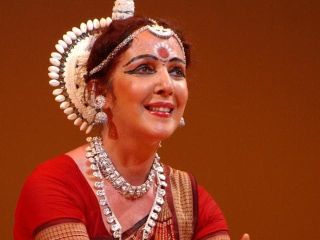 A traditional Odissi stance from  Ileana Citaristi's performance titled Abhinaya