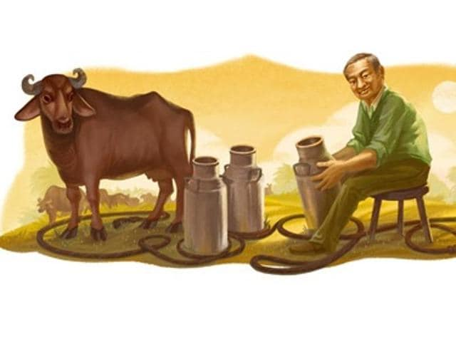 Google Doodle on Thursday had Verghese Kurien sitting beside a buffalo with a milk pail in hand and a rope coiled on the ground to spell Google.