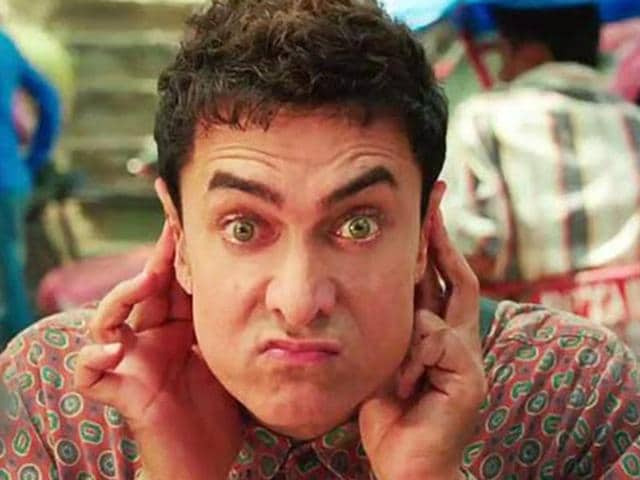 Aamir Khan in a still from PK, a stire on the blindfaith and religious practices in our country.