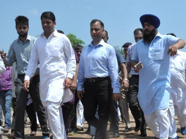 UT adviser Vijay Dev during his visit to Sector 41 in Chandigarh on August 13.