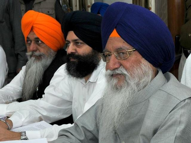 SGPC president Avtar Singh Makkar (extreme right) along with other SGPC members during a meeting in Chandigarh on Thursday.