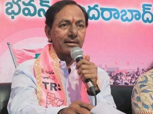 TRS president K Chandrashekar Rao with party leaders addresses the media at Telangana Bhavan in Hyderabad.