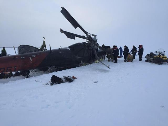 The site of an Mi-8 helicopter crash near the town of Igarka in Krasnoyarsk region, Russia.
