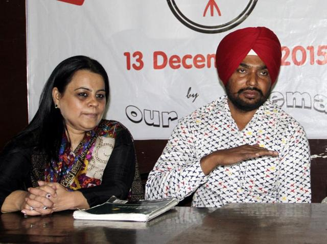 (From left) Short filmmakers Harleen Sona, Ravinder Ravi and Pardeep Singh addressing the mediapersons at Punjabi Bhawan in Ludhiana on Wednesday.