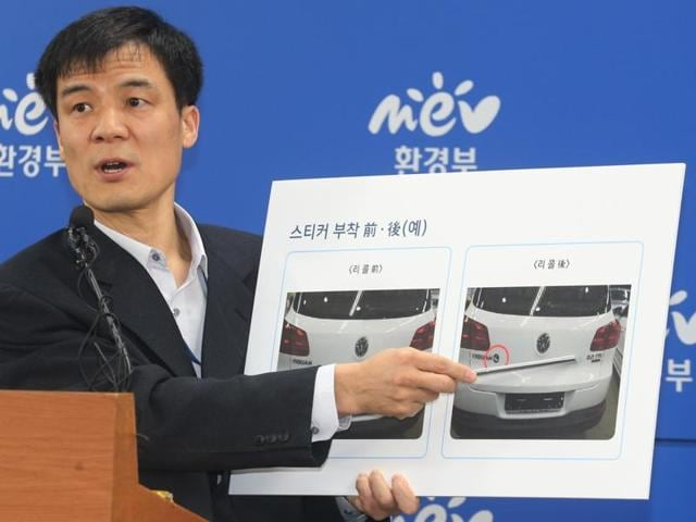 Hong Dong Gon, a director at the Ministry of Environment, speaks about investigation results of Volkswagen vehicle emissions during a press conference in Sejong. South Korea fined Volkswagen $12.3 million and ordered recalls of 125,522 diesel vehicles after the government found their emissions tests were rigged.