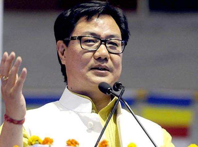 Minister of state for home affairs, Kiren Rijiju, at an event in New Delhi. (Sonu Mehta/HT File Photo)