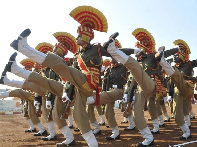 Sashastra Seema Bal (SSB) contingents take part in the passing out parade in Bhopal.