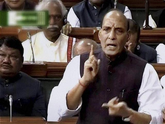 Union Home Minister Rajnath Singh speaks in Lok Sabha during the first day of winter session of Parliament in New Delhi on Thursday.