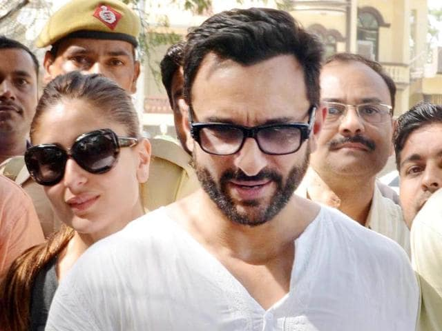 Saif Ali Khan and his wife Kareena Kapoor Khan come out on the street of Pataudi in Gurgaon.