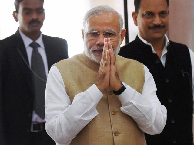 Prime Minister Narendra Modi arrives to attend the all party meeting a day before Parliament's winter session at Parliament House in New Delhi.