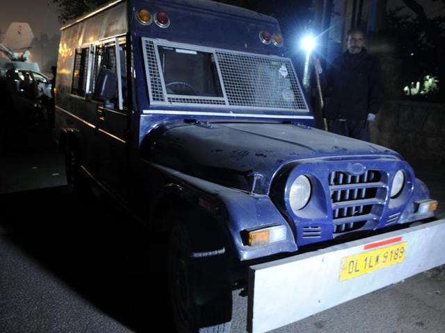 A picture of the van whose driver fled with Rs 22 crore after halting it near Govindpuri metro station, in New Delhi.